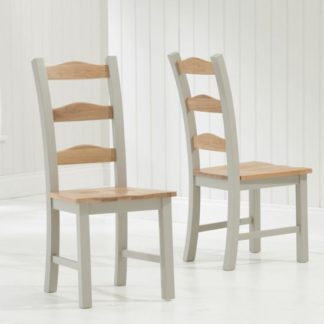 An Image of Schedar Oak And Grey Dining Chairs In Pair