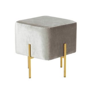 An Image of Ryman Stool In Grey Velvet And Gold Plated Stainless Steel