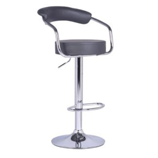 An Image of Zenith Bar Stool In Charcoal Grey Faux Leather With Chrome Base