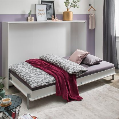 An Image of Juist Wooden Horizontal Foldaway King Size Bed In White
