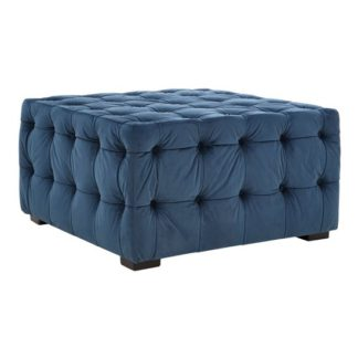 An Image of Poerava Midnight Velvet Button Footstool Blue