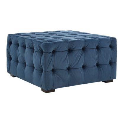 An Image of Poerava Midnight Velvet Button Footstool Blue