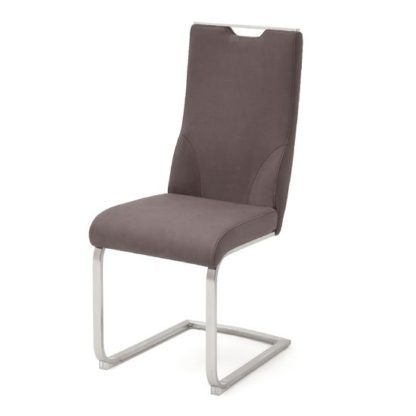 An Image of Jiulia Leather Cantilever Dining Chair In Brown
