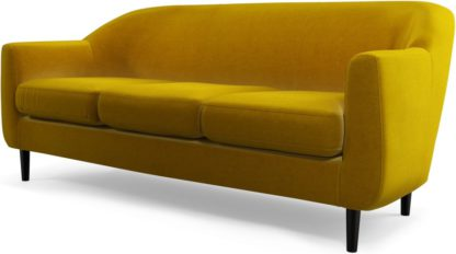An Image of Custom MADE Tubby 3 Seater Sofa, Saffron Yellow Velvet with Black Wood Leg