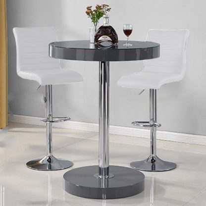 An Image of Havana Bar Table In Grey With 2 Ripple White Bar Stools