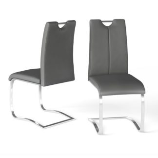 An Image of Gabi Grey Faux Leather Dining Chair In A Pair