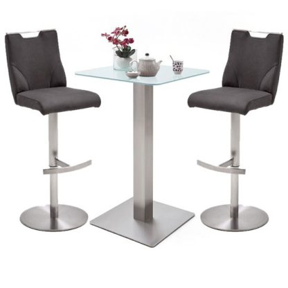 An Image of Soho Glass Bar Table With 2 Jiulia Anthracite Leather Stools