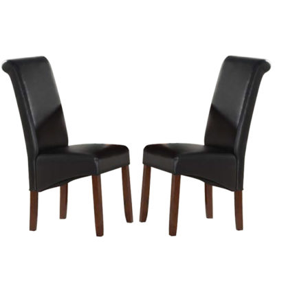 An Image of Sika Black Leather Dining Chairs In Pair With Acacia Legs