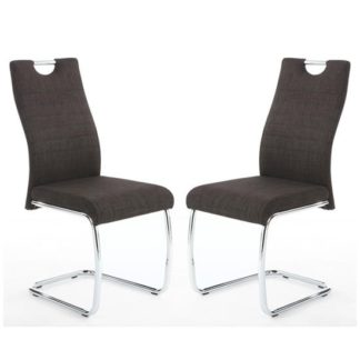 An Image of Talia Charcoal Handle Back Leather Effect Dining Chair In A Pair