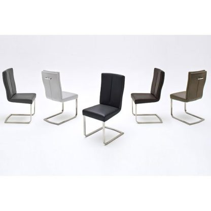 An Image of Luna Metal Swinging Dining Chair In Brown Faux Leather