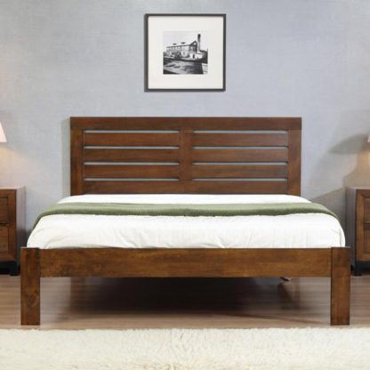 An Image of Vulcan Solid Wooden Double Bed In Rustic Oak