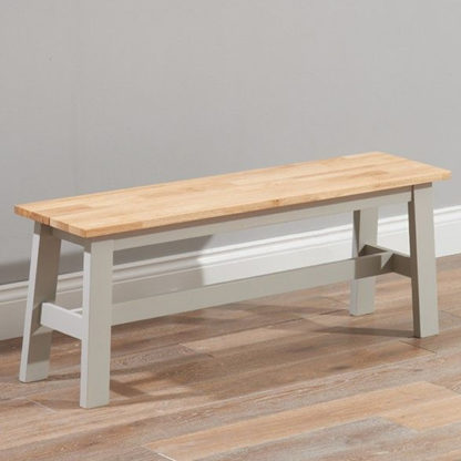 An Image of Antlia Wooden Large Dining Bench In Oak And Grey