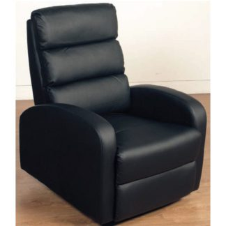 An Image of Livorno Faux Leather Recliner Chair In Black