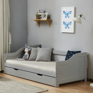 An Image of Tupelo Wooden Single Bed In Grey With Pull Out Trundle