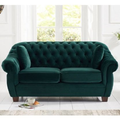 An Image of Sylvan Chesterfield Fabric 2 Seater Sofa In Green Plush