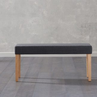 An Image of Birlea Fabric Dining Bench Small In Black With Oak Legs