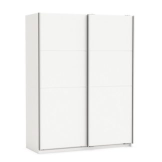 An Image of Rossett Wooden Wardrobe Large In Pearl White And Linen