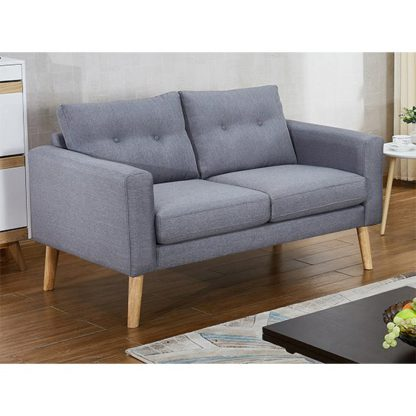 An Image of Megan Fabric 2 Seater Sofa In Grey