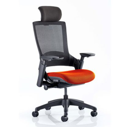 An Image of Molet Black Back Headrest Office Chair With Tabasco Red Seat