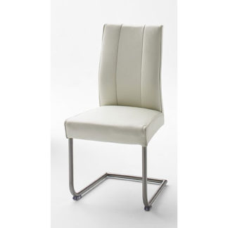 An Image of Alamona 1 Dining Chair In White Faux Leather