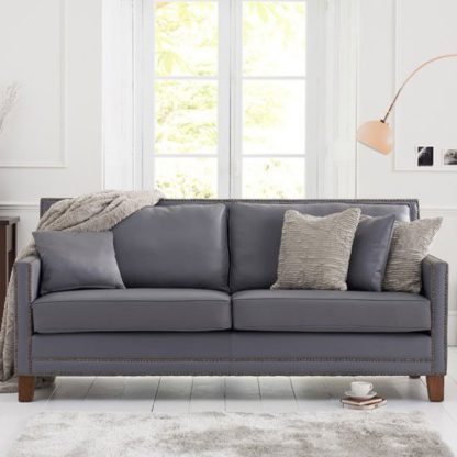 An Image of Cobalt 3 Seater Sofa In Grey Leather With Dark Ash Legs