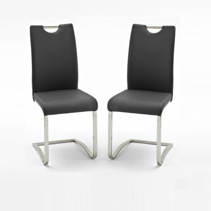 An Image of Koln Dining Chair In Black Faux Leather in A Pair
