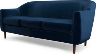 An Image of Custom MADE Tubby 3 Seater Sofa, Regal Blue Velvet with Dark Wood Legs