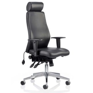 An Image of Onyx Ergo Leather Office Chair In Black With Headrest And Arms