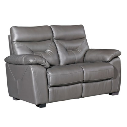 An Image of Tiana Contemporary Faux Leather Fixed 2 Seater Sofa In Grey