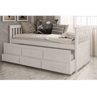 An Image of Ryegate Wooden Pull Out Trundle Day Bed In White Finish