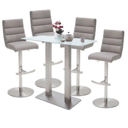 An Image of Soho White Glass Bar Table With 4 Hiulia Ice Grey Stools