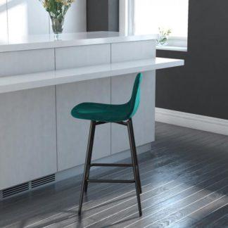 An Image of Calvin Velvet Upholstered Counter Stool In Green