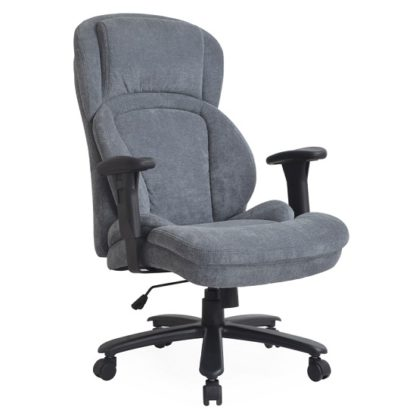 An Image of Casden Fabric Office Chair In Grey With Nylon Black Casters