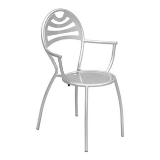 An Image of Stacking Bistro Carver Chair In Powder Coated Silver