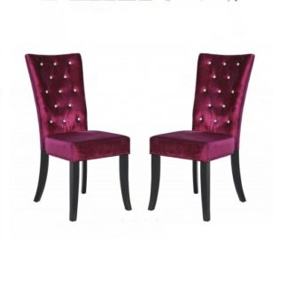 An Image of Belfast Dining Chair In Crushed Purple Velvet in A Pair