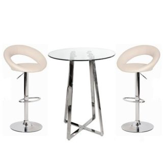 An Image of Poseur Bar Table In Clear Glass With 2 Leoni Cream Bar Stools