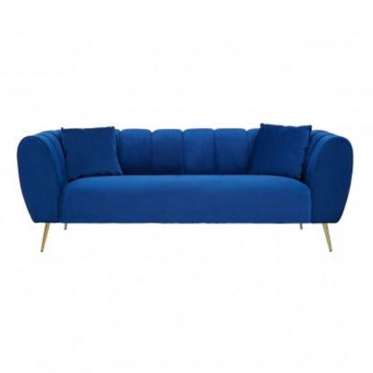An Image of Florina Velvet Upholstered 3 Seater Sofa In Midnight Blue