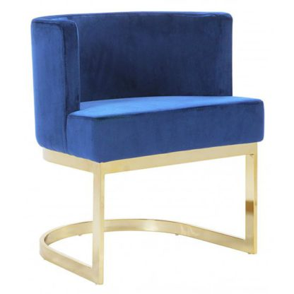 An Image of Lauro Blue Velvet Dining Chair With Gold Stainless Steel Legs