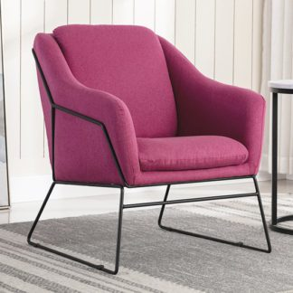 An Image of Karl Fabric Upholstered Accent Chair In Woven Berry
