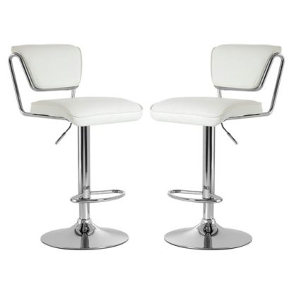An Image of Tilotta White Faux Leather Gas Lift Bar Chairs Pair
