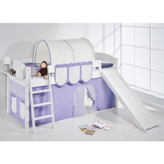 An Image of Lilla Slide Children Bed In White With Purple Curtains