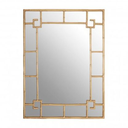 An Image of Zaria Rectangular Panelled Wall Bedroom Mirror In Gold Frame