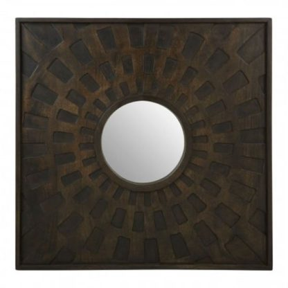 An Image of Seri Square Wall Bedroom Mirror In Weathered Brown Frame