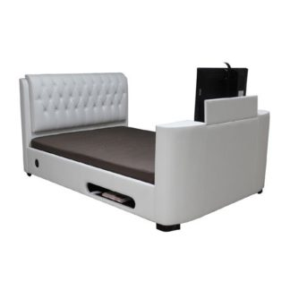 An Image of Cosmo White Faux Leather Finish 6FT TV Bed