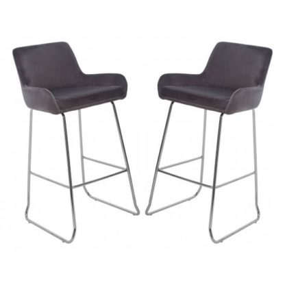 An Image of Tamzo Mink Velvet Upholstered Bar Chair With Low Arms In Pair