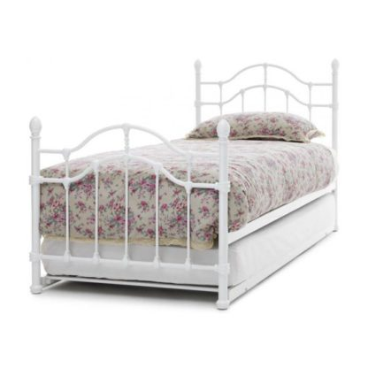An Image of Paris Metal Single Bed With Guest Bed In White Gloss