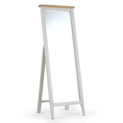An Image of Brandy Cheval Mirror In Off White And Oak Frame