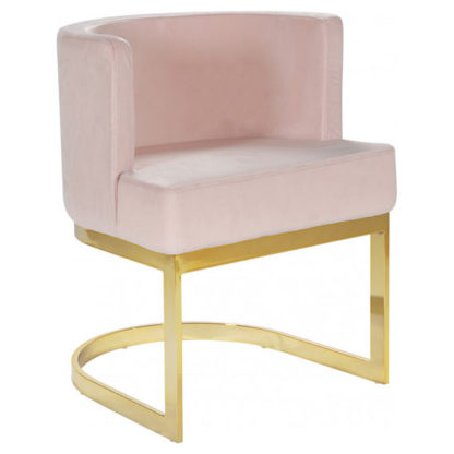 An Image of Lauro Pink Velvet Dining Chair With Gold Stainless Steel Legs