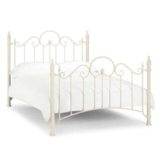 An Image of Floren Metal Double Bed In Stone White Finish