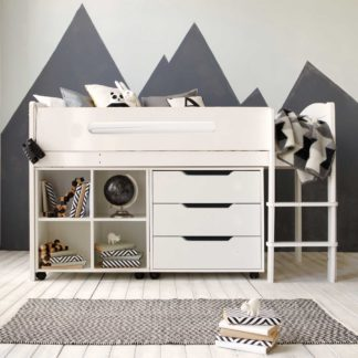 An Image of Kenzie Childrens Midsleeper with Chest Of Drawers And Storage Bookcase